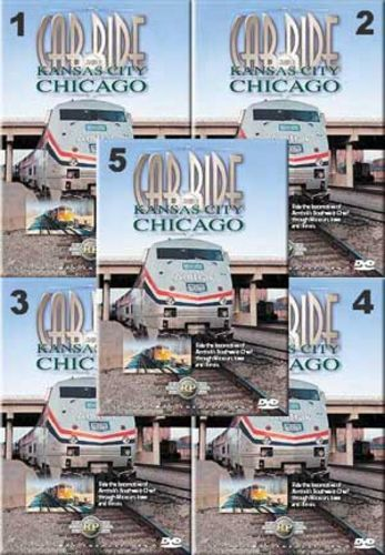 Cab Ride From Kansas City to Chicago Set 5 DIscs Vols 1-5 Train Video Railway Productions KC-CHISET