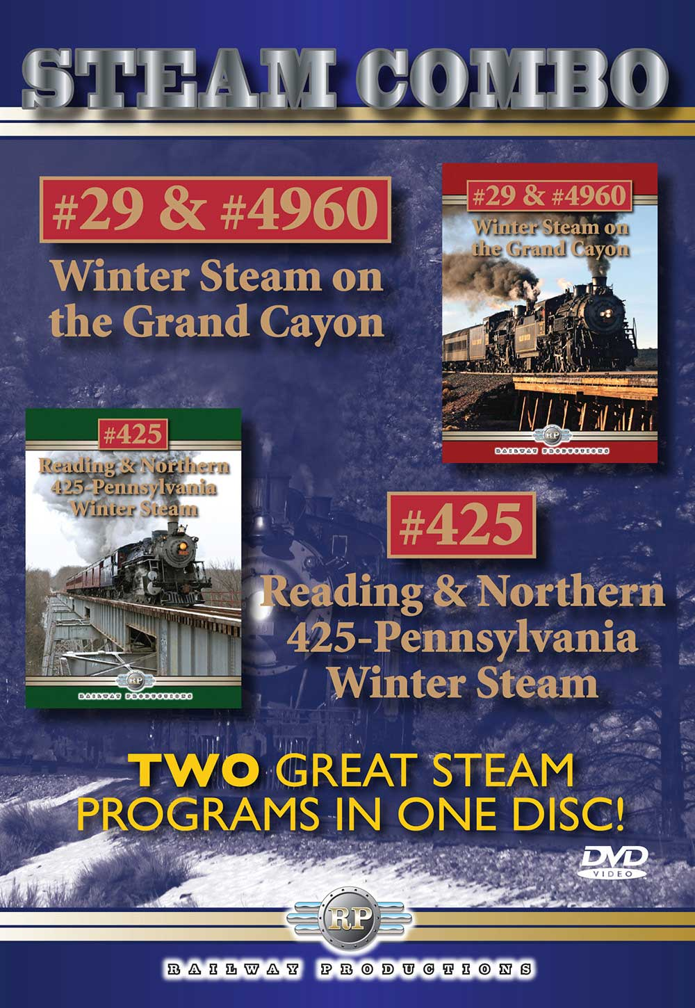 Winter Steam on the Grand Canyon & Reading & Northern 425 Pennsylvania Winter Steam Combo DVD Railway Productions SCDVD 616964049605
