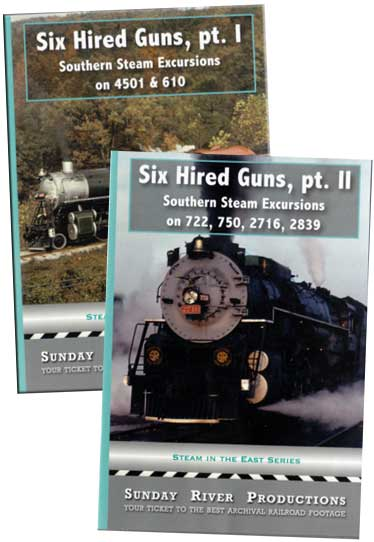 Six Hired Guns 2 DVD Collection Part 1& 2 Southern Steam Excursions Sunday River Productions DVD-6HGSET
