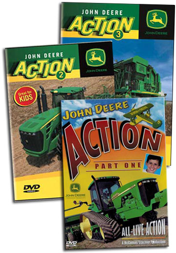 John Deere Action 3 DVD Collection Vols 1 - 3 TM Books and Video JDACTIONSET