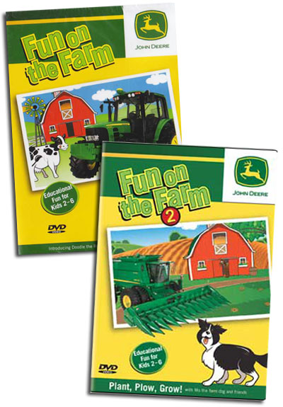 John Deere Fun on the Farm 2 DVD Collection Vol 1 & 2 Train Video TM Books and Video JDFUNSET