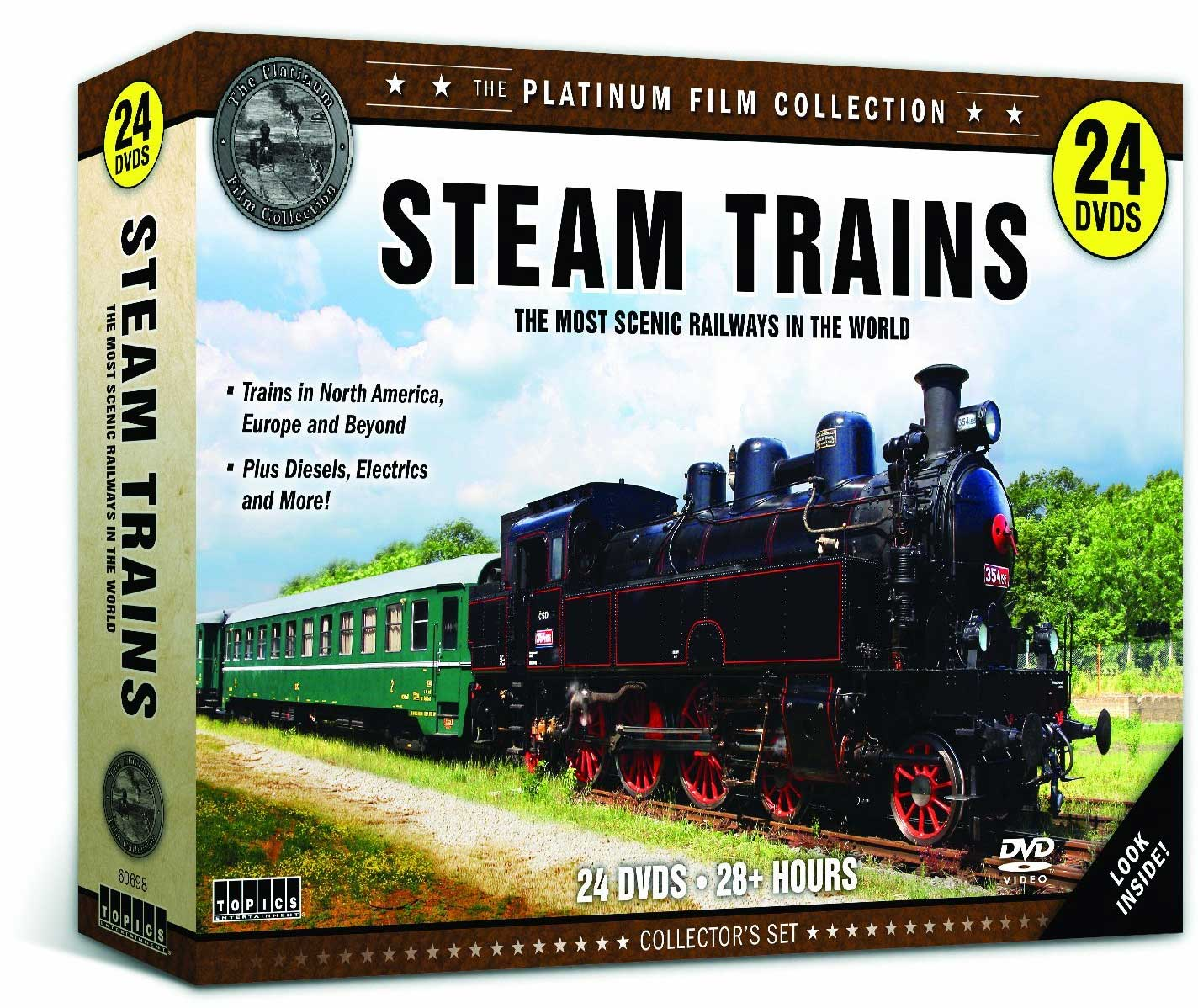 Steam Trains - The Most Scenic Railways Around the World 24 DVD Set Train Video Topics 60698 781735606988